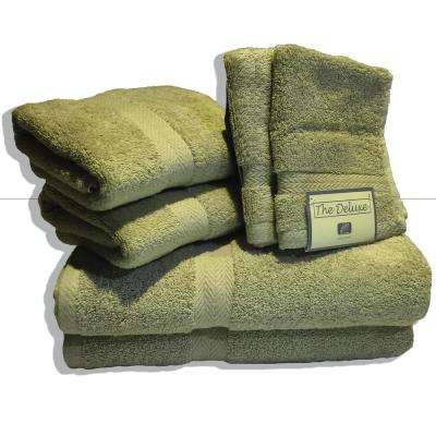 Deluxe 6-Piece Cotton Terry Bath Towel Set in Sage