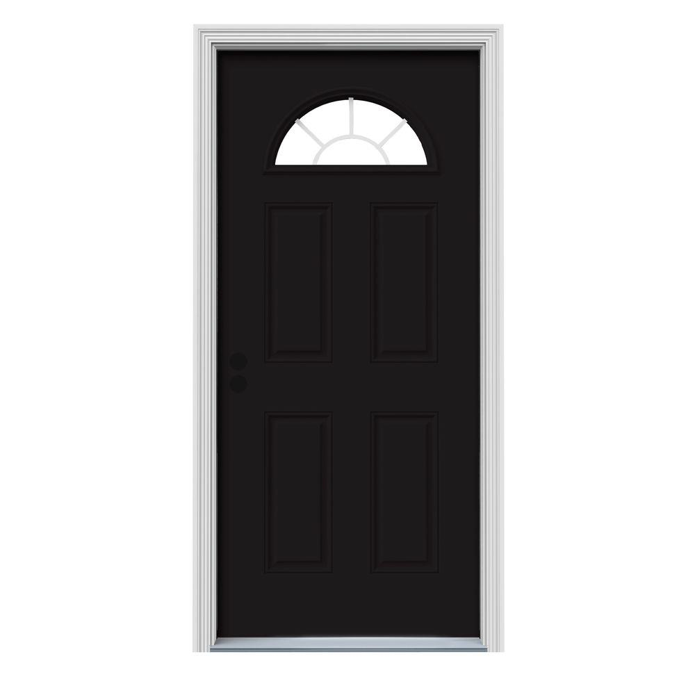 JELD-WEN 30 in. x 80 in. Fan Lite Black Painted Steel Prehung Right-Hand Inswing Front Door w/Brickmould