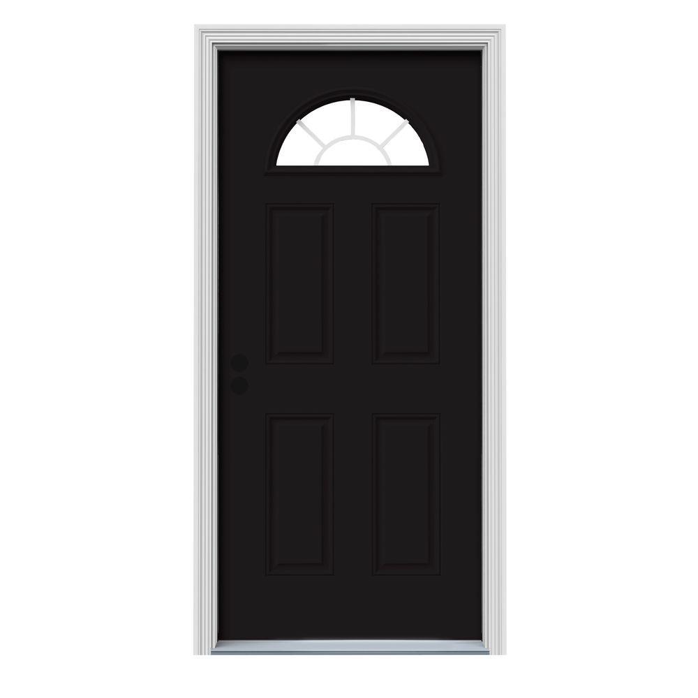 36 in. x 80 in. Fan Lite Black Painted Steel Prehung Right-Hand Inswing Front Door w/Brickmould