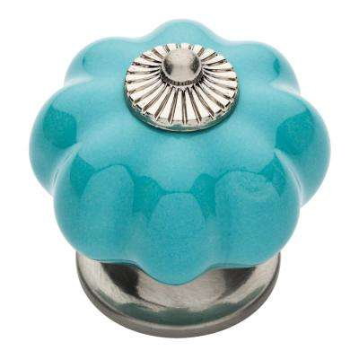 Ceramic Melon 1-1/2 in. (38mm) Satin Nickel and Blue Round Cabinet Knob