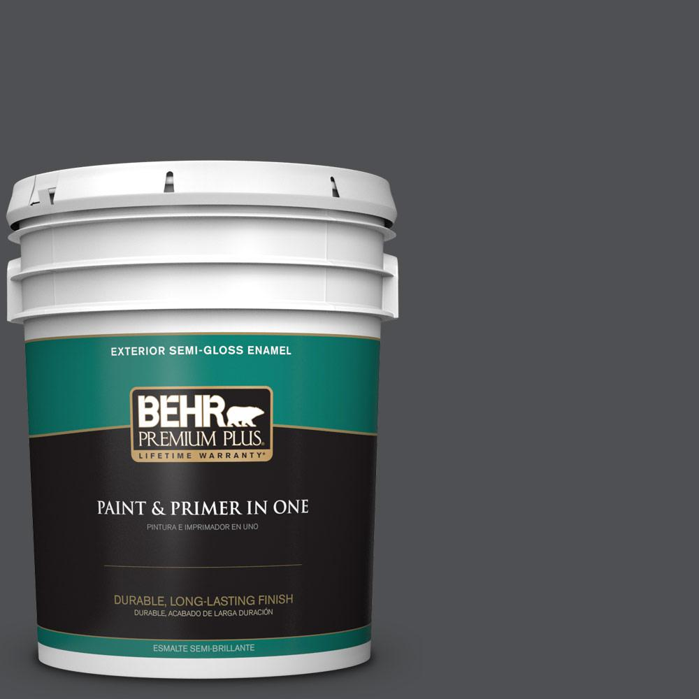 5 gal. #PPU18-01 Cracked Pepper Semi-Gloss Enamel Exterior Paint
