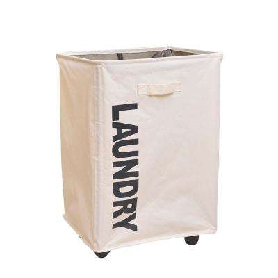 White Portable Single Lattice Mesh Bundle Mouth Laundry Fabric Basket with Wheel