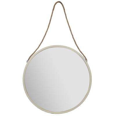 Rustic Hanging Rope Round White Decorative Mirror