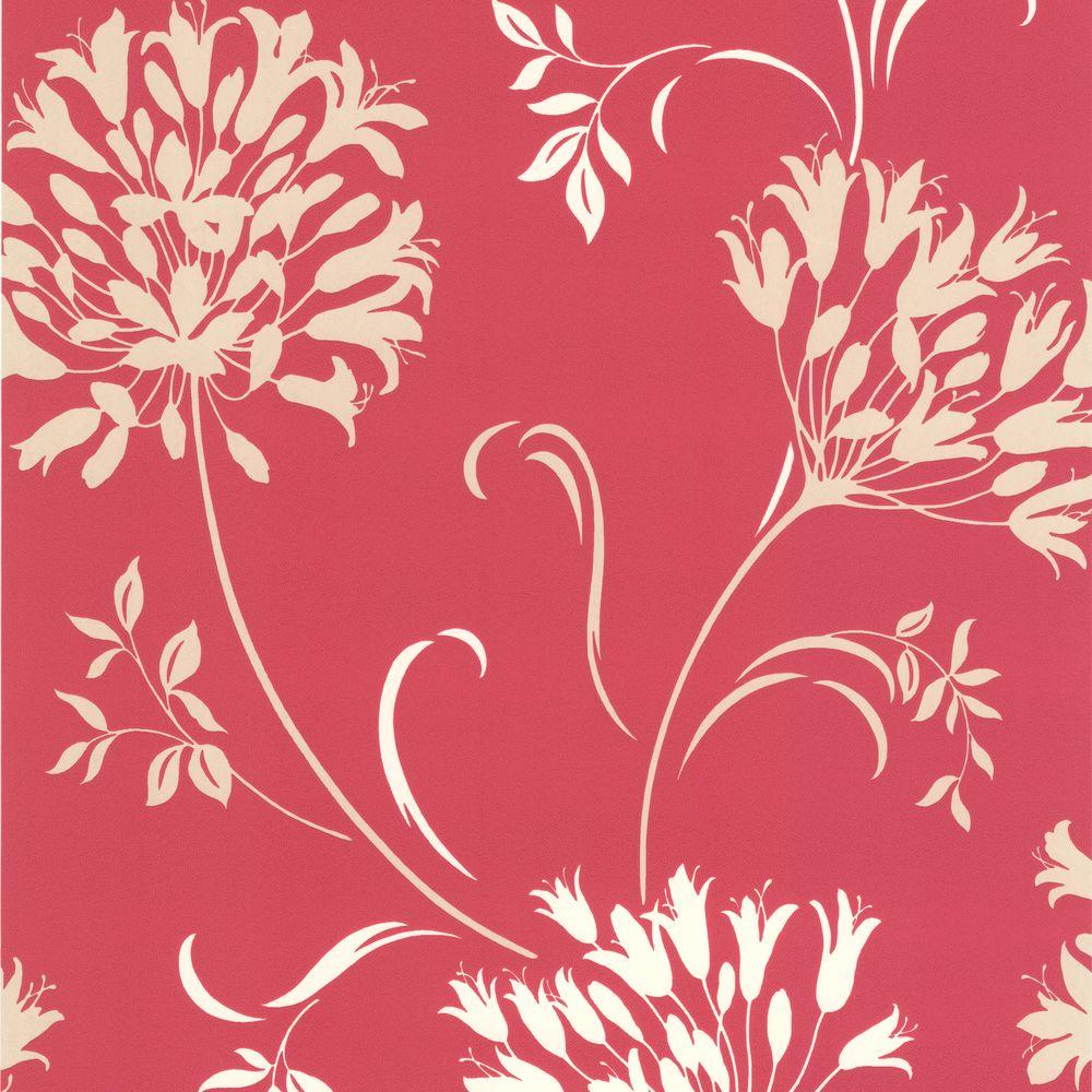 null Nerida Pink Floral Silhouette Wallpaper