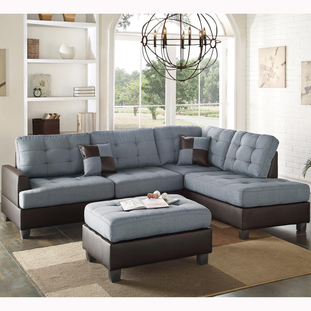 Genoa 3 Piece Sectional Sofa In Gray With Ottoman · Venetian Worldwide ...