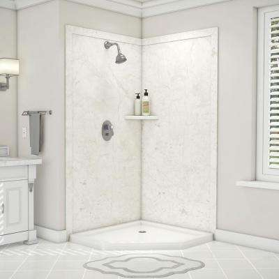 Splendor 40 in. x 40 in. x 80 in. 7-Piece Easy Up Adhesive Corner Shower Wall Surround in Botticino Cream