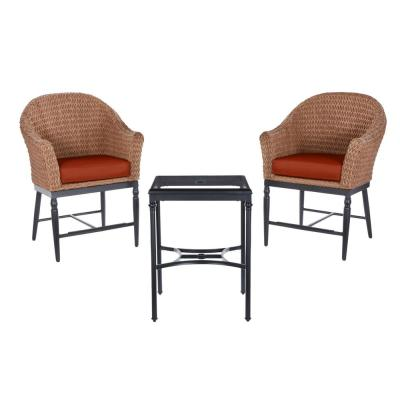 Camden Seagrass Light Brown 3-Piece Wicker Outdoor Patio Balcony Height Bistro Set with CushionGuard Quarry Red Cushions