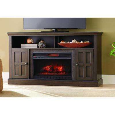 Elmhurst 60 in. Media Console Infrared Electric Fireplace TV Stand in Brown Twilight Grey Finish