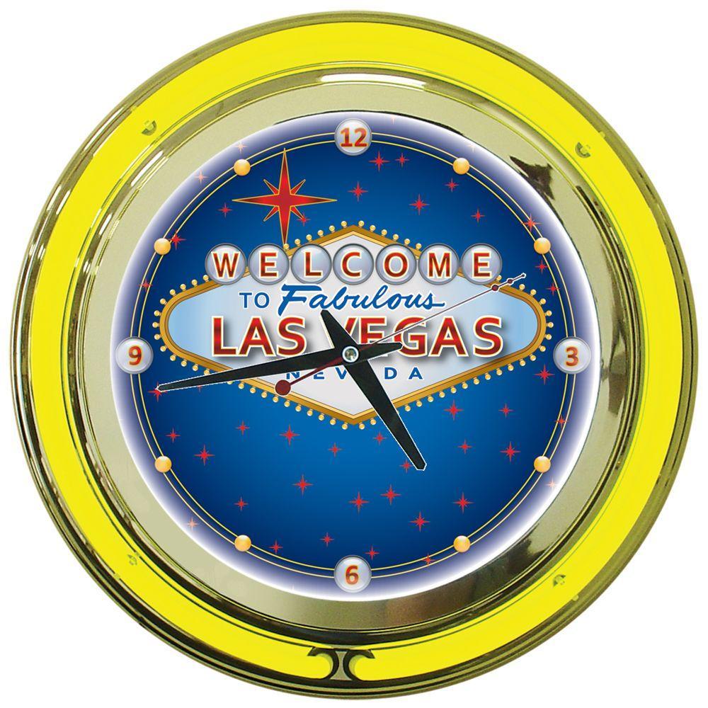 Trademark 14 in. Las Vegas Neon Wall Clock