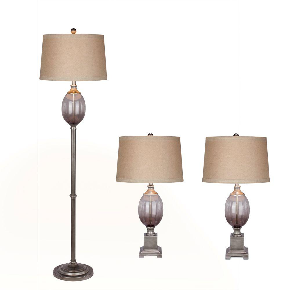 Fangio Lighting Grey Metal and Glass Lamp Set (3-Piece)-5092 - The ...
