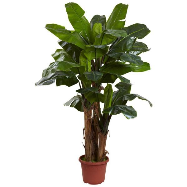 Nearly Natural 7 ft. Giant Triple Stalk Banana Tree UV Resistant (Indoor/Outdoor)