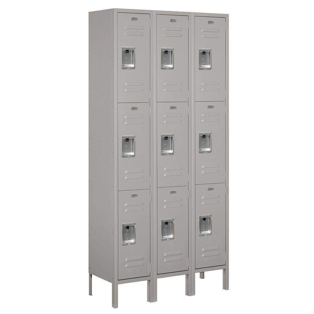 63000 Series 36 in. W x 78 in. H x 12 in. D - Triple Tier Metal Locker Assembled in Gray