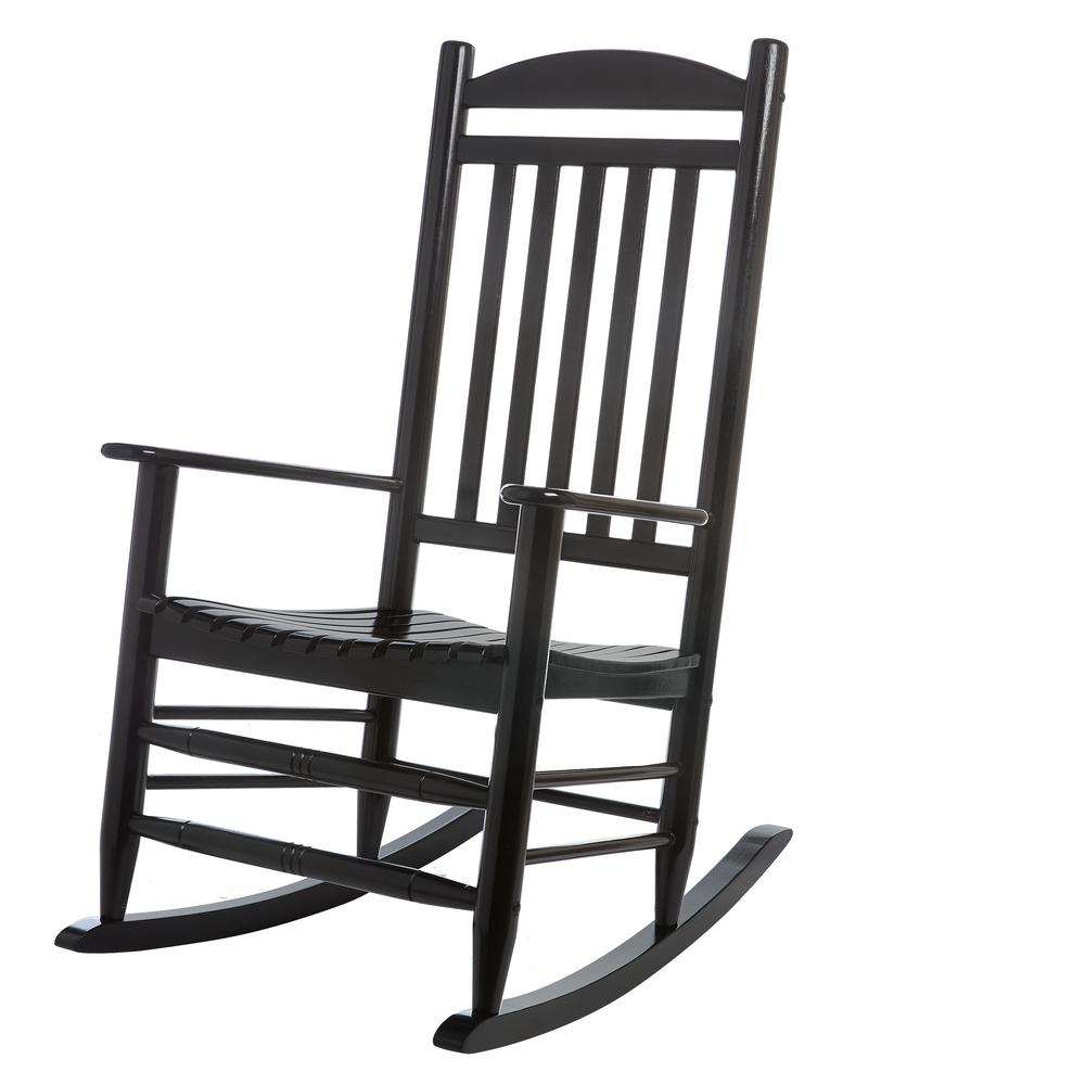 hampton bay black wood outdoor rocking chair 2 1 1200 the home depot