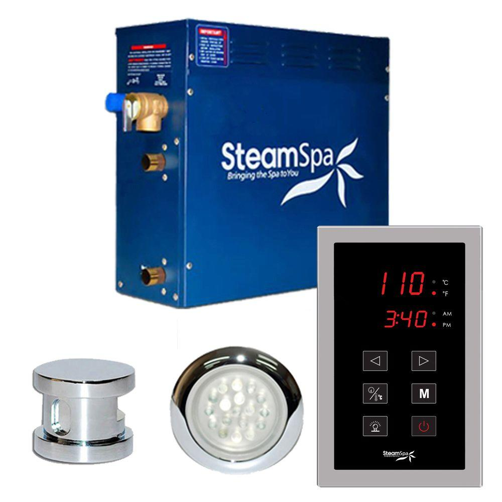 SteamSpa Indulgence 9kW Touch Pad Steam Bath Generator Package in Chrome