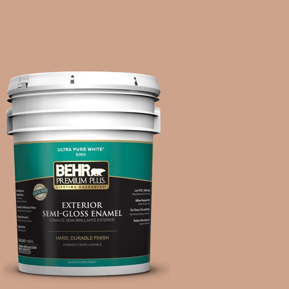 BEHR Premium Plus 5-gal. #PMD-76 Sienna Buff Semi-Gloss Enamel Exterior Paint