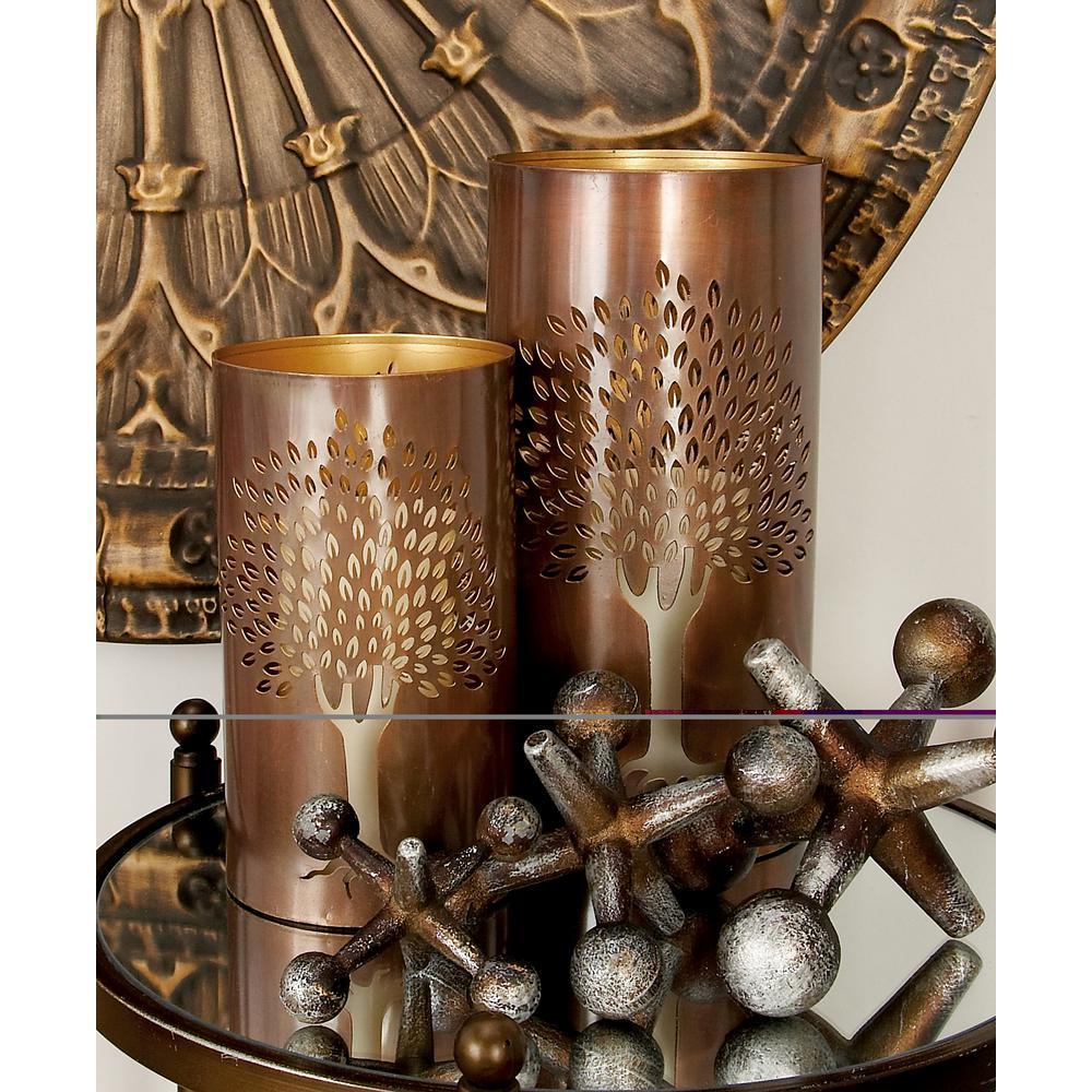 Distressed Bronze Brass Iron Metal Tree Hurricane Candle Holder (Set of