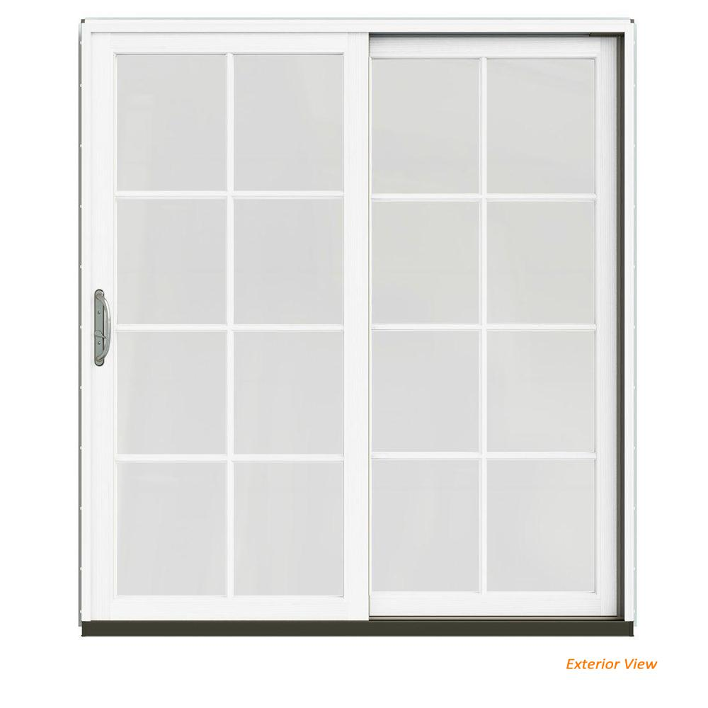 Jeld Wen 72 In X 80 In W 2500 Contemporary White Clad Wood Right Hand 8 Lite Sliding Patio Door W White Paint Interior Jw2201 01902 The Home Depot
