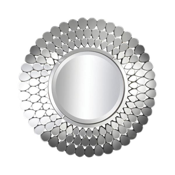 Medium Round Silver Beveled Glass Contemporary Mirror (39.38 in. H x 39.38 in. W)