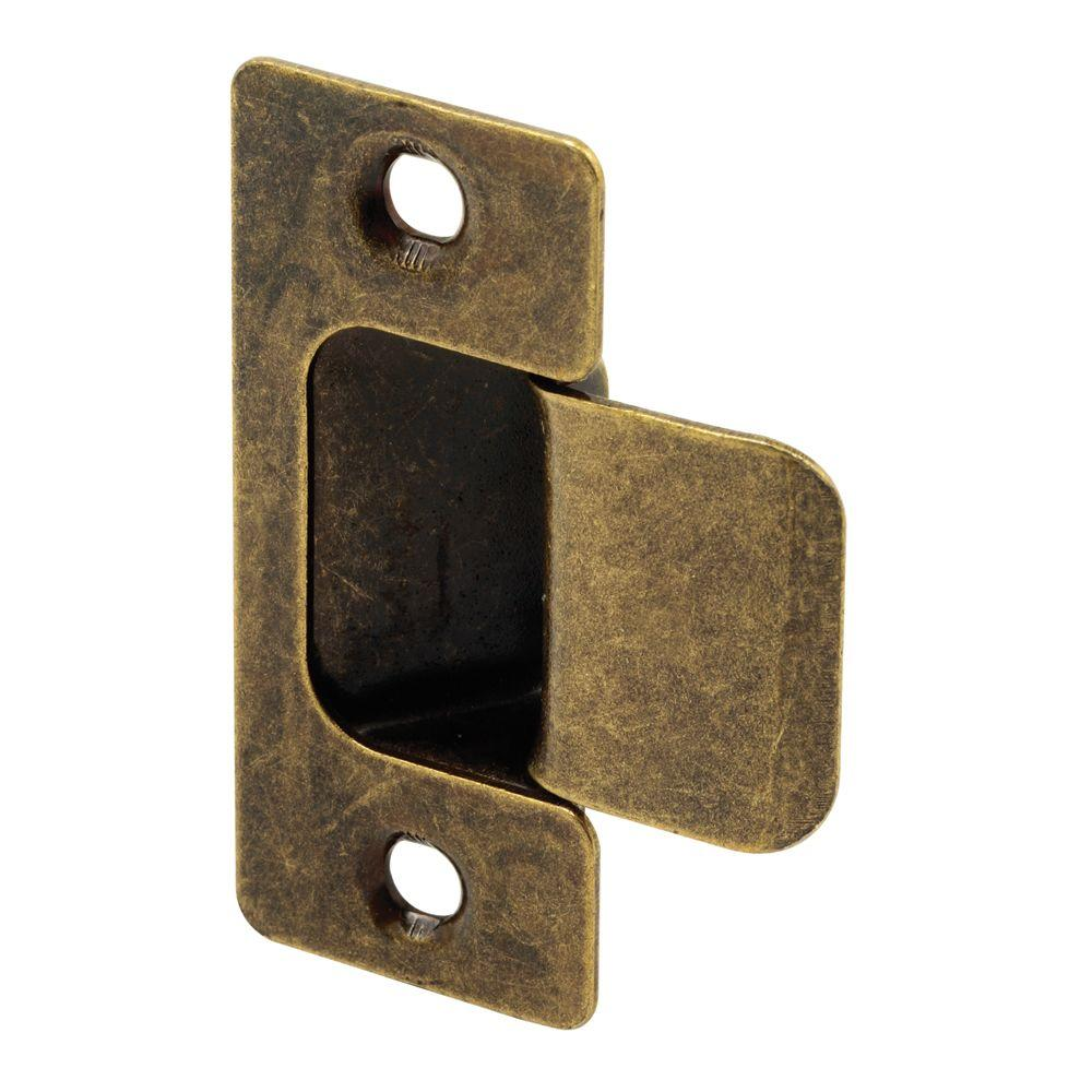 Prime-Line 2-Piece Antique Brass Adjustable Door Strike - Prime-Line 2-Piece Antique Brass Adjustable Door Strike-U 10277