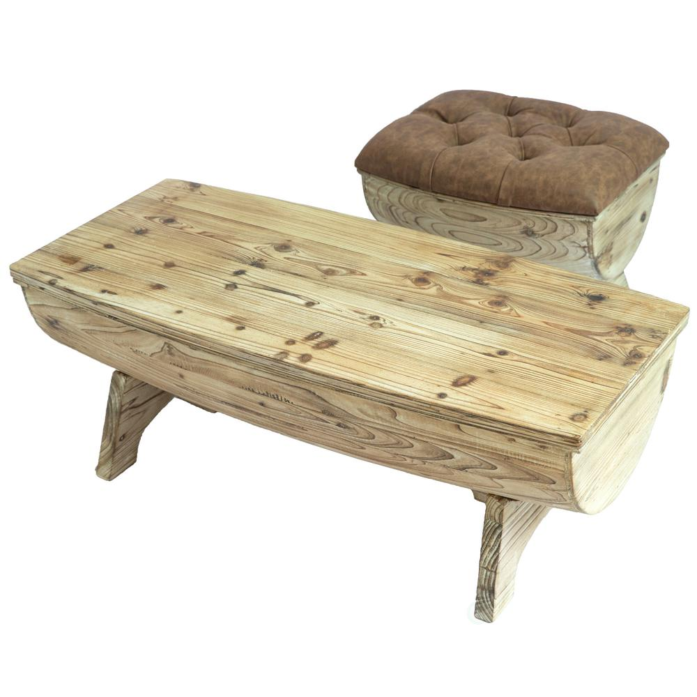 Vintiquewise Vintage Wooden Wine Barrel Storage Bench And Coffee Table Set Of 2