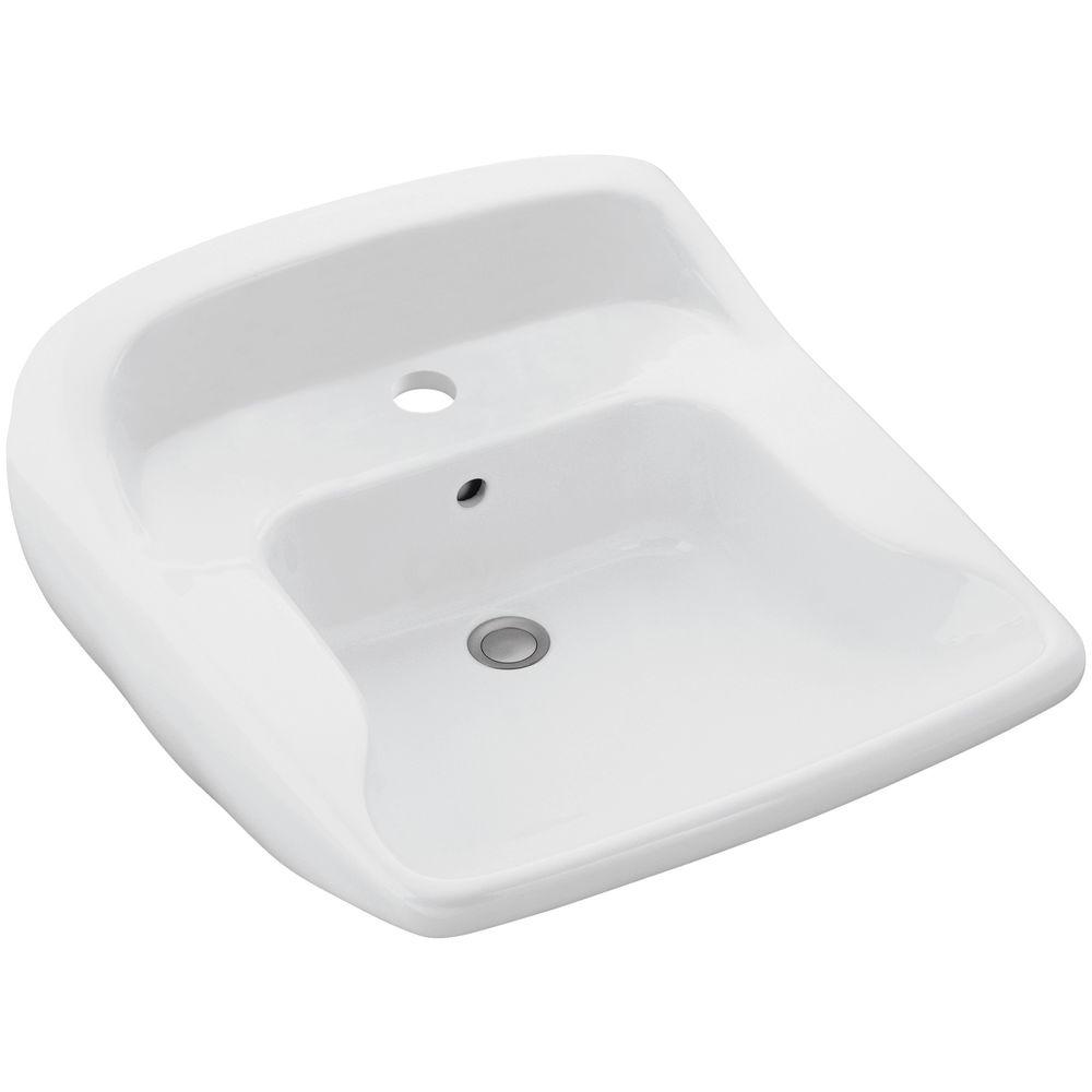 STERLING Worthington Wall-Mounted Ceramic Bathroom Sink in White with Overflow Drain