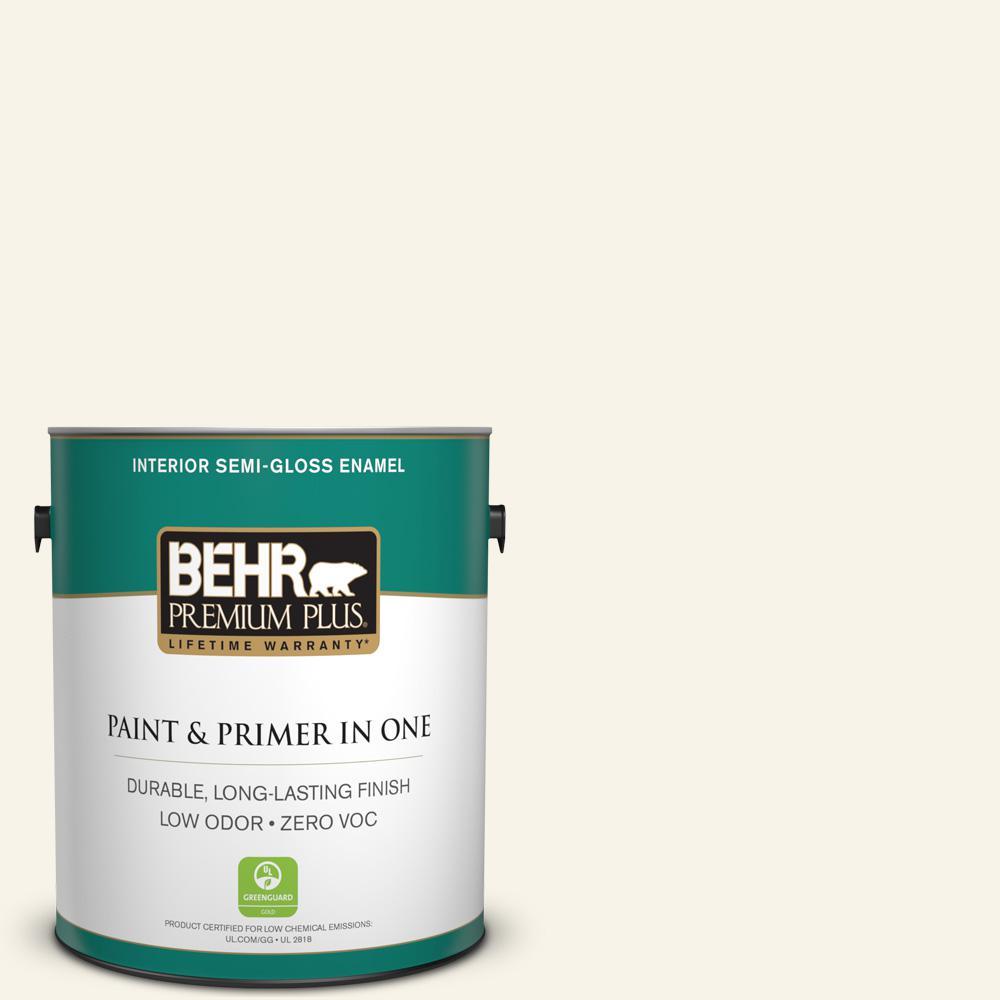 BEHR Premium Plus 1-gal. #W-D-700 Powdered Snow Zero VOC Semi-Gloss Enamel Interior Paint