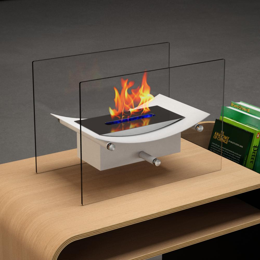 Moda Flame Cavo 14 In Vent Free Ethanol Fireplace In White