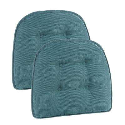 15 in. x 16 in. Gripper Non-Slip Twillo Marine Tufted Chair Cushions (Set of 2)
