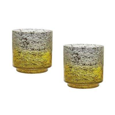 Ombre 6 in. Lemon Glass Hurricane Candle Holders (Set of 2)