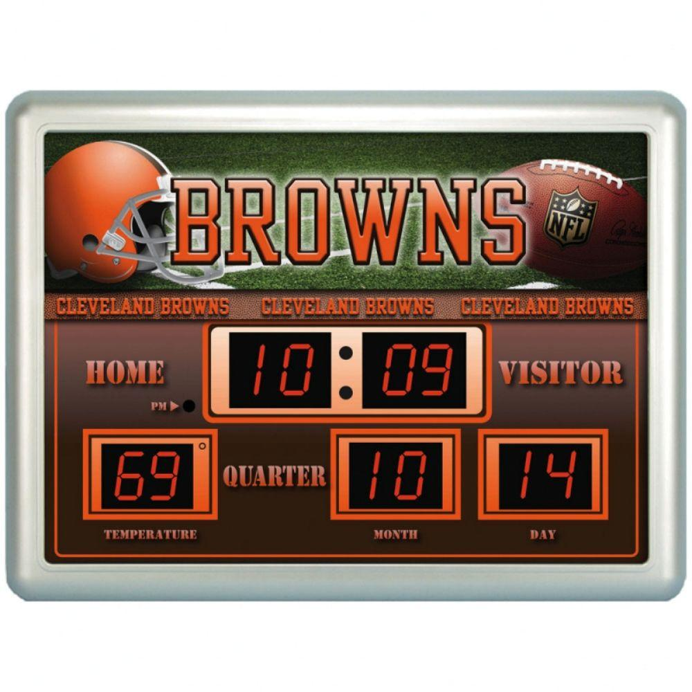 null Cleveland Browns 14 in. x 19 in. Scoreboard Clock with Temperature
