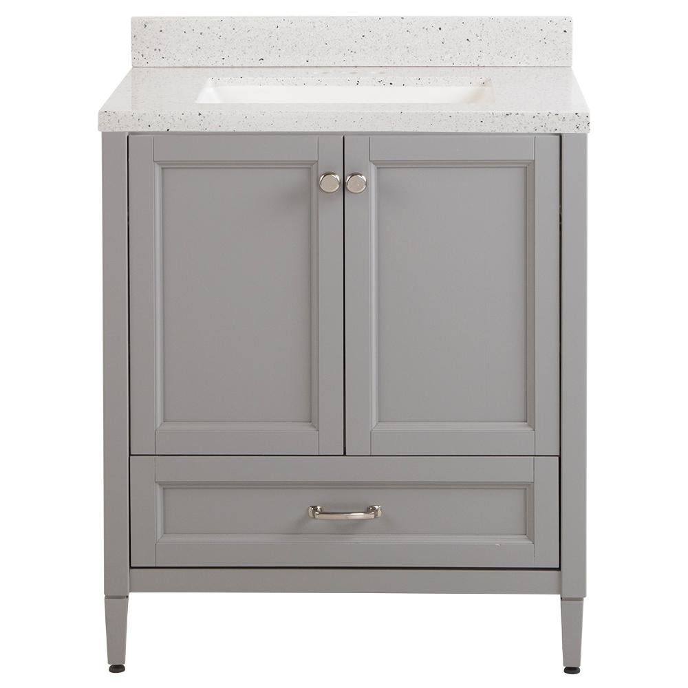 Home Decorators Collection Claxby 31 in. W x 22 in. D Bath Vanity in Sterling Gray with Solid Surface Vanity Top in Silver Ash with White Sink