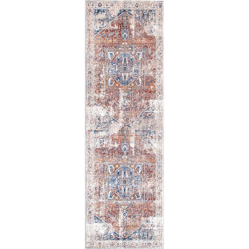 Ehtel Medallion Fringe Ivory 3 ft. x 10 ft. Runner Rug