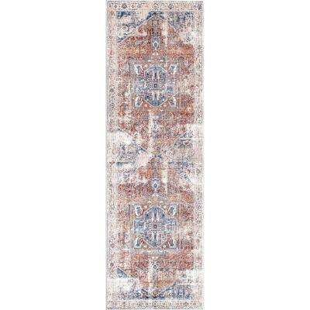 Ehtel Medallion Fringe Ivory 2 ft. 6 in. x 12 ft. Runner Rug