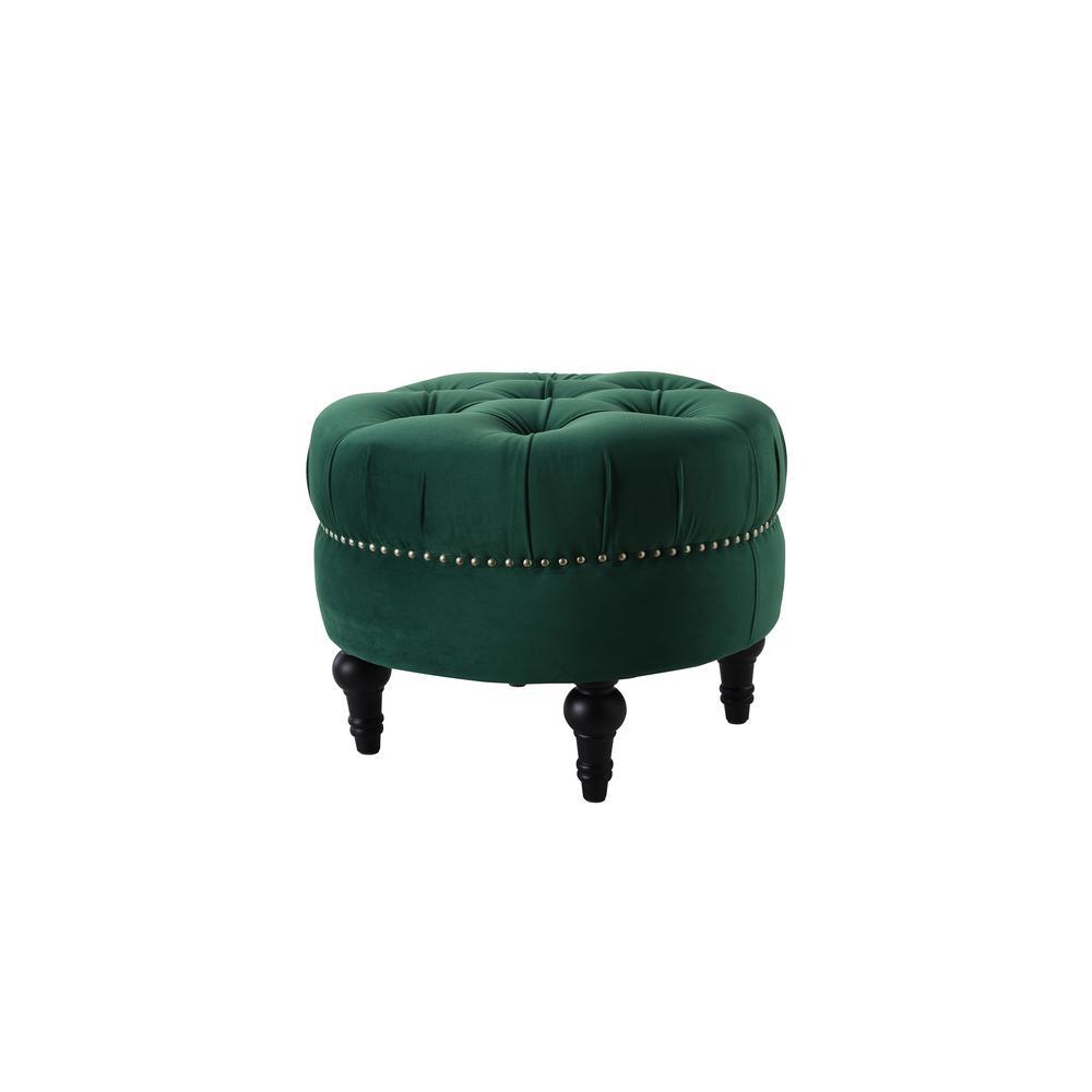 Dawn Evergreen Tufted Round Ottoman