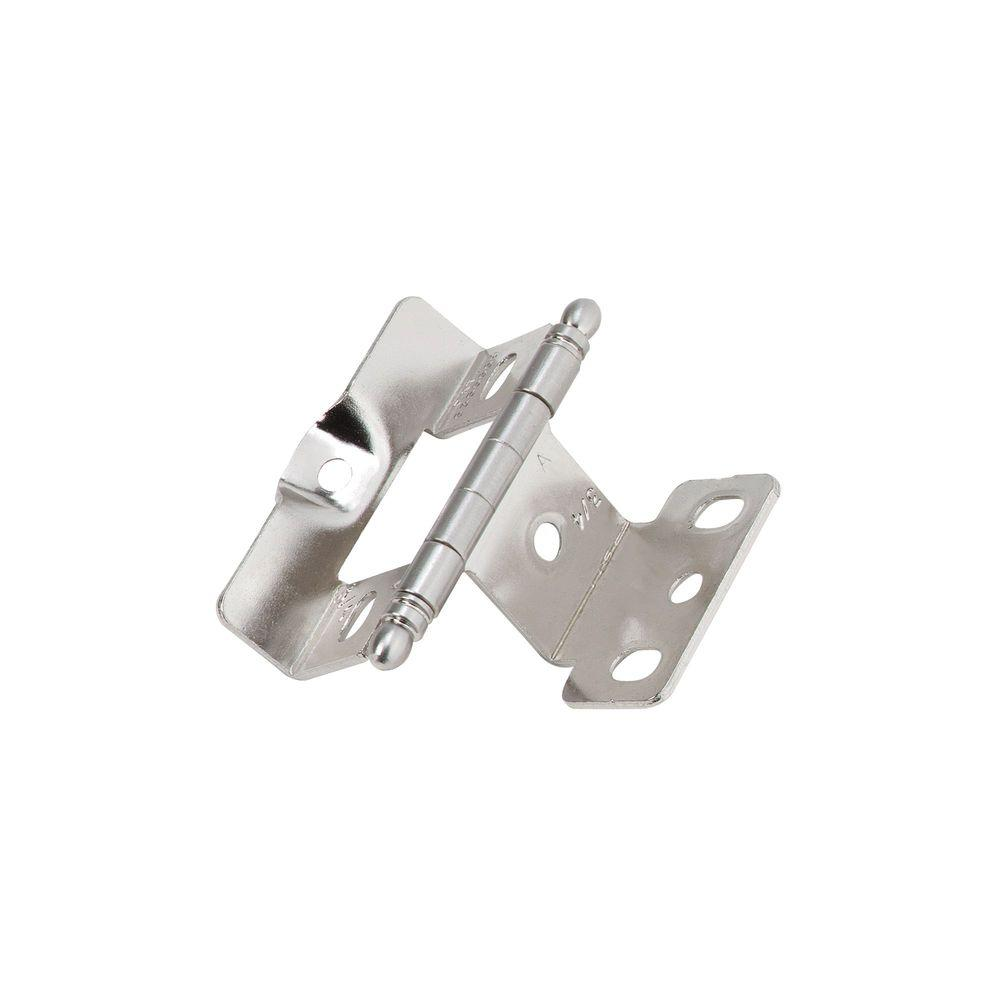 Amerock Full Inset, Full Wrap, Ball Tip Sterling Nickel Hinge With 3/4in