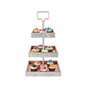 c5f5e098c4976 3-Tier Silver Cake Stand for Party Pastry Display Cupcake Stand Holder with  Handle. Mind Reader ...