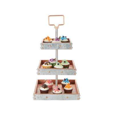 3-Tier Silver Cake Stand for Party Pastry Display Cupcake Stand Holder with Handle