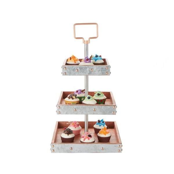 9834e93d35d33 3-Tier Silver Cake Stand for Party Pastry Display Cupcake Stand Holder with  Handle. by Mind Reader