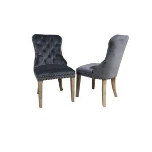 Gray Tufted Armless Upholstered Dining Chair (Set of 2)