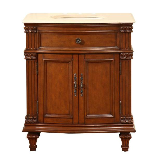 30.5 in. W x 22 in. D Vanity in Cherry with Marble Vanity Top in Crema Marfil with Ivory Basin