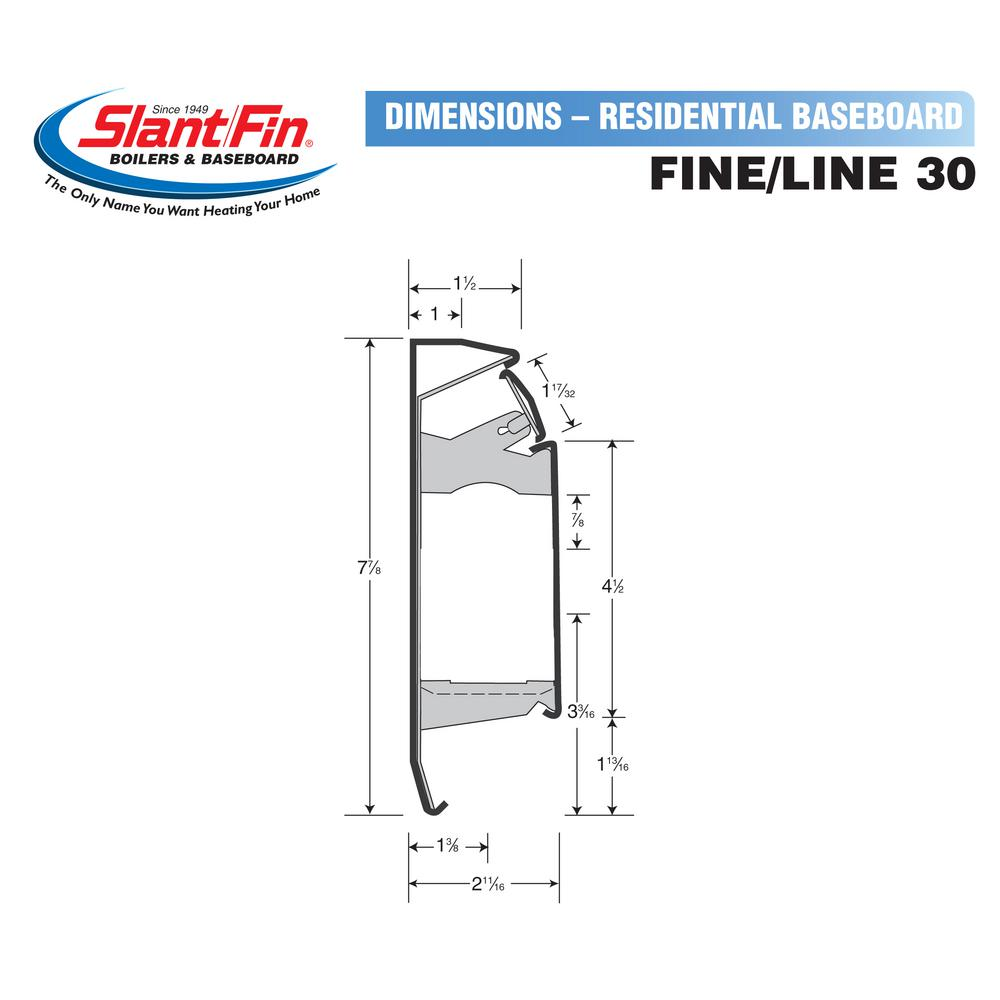 Slant Fin Fine Line 30 8 Ft Hydronic Baseboard Heating Enclosure Only In Nu White 101 403 8 The Home Depot