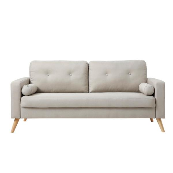 AC Pacific Alvin 3-Seat Beige Fabric Upholstered Living Room Sofa