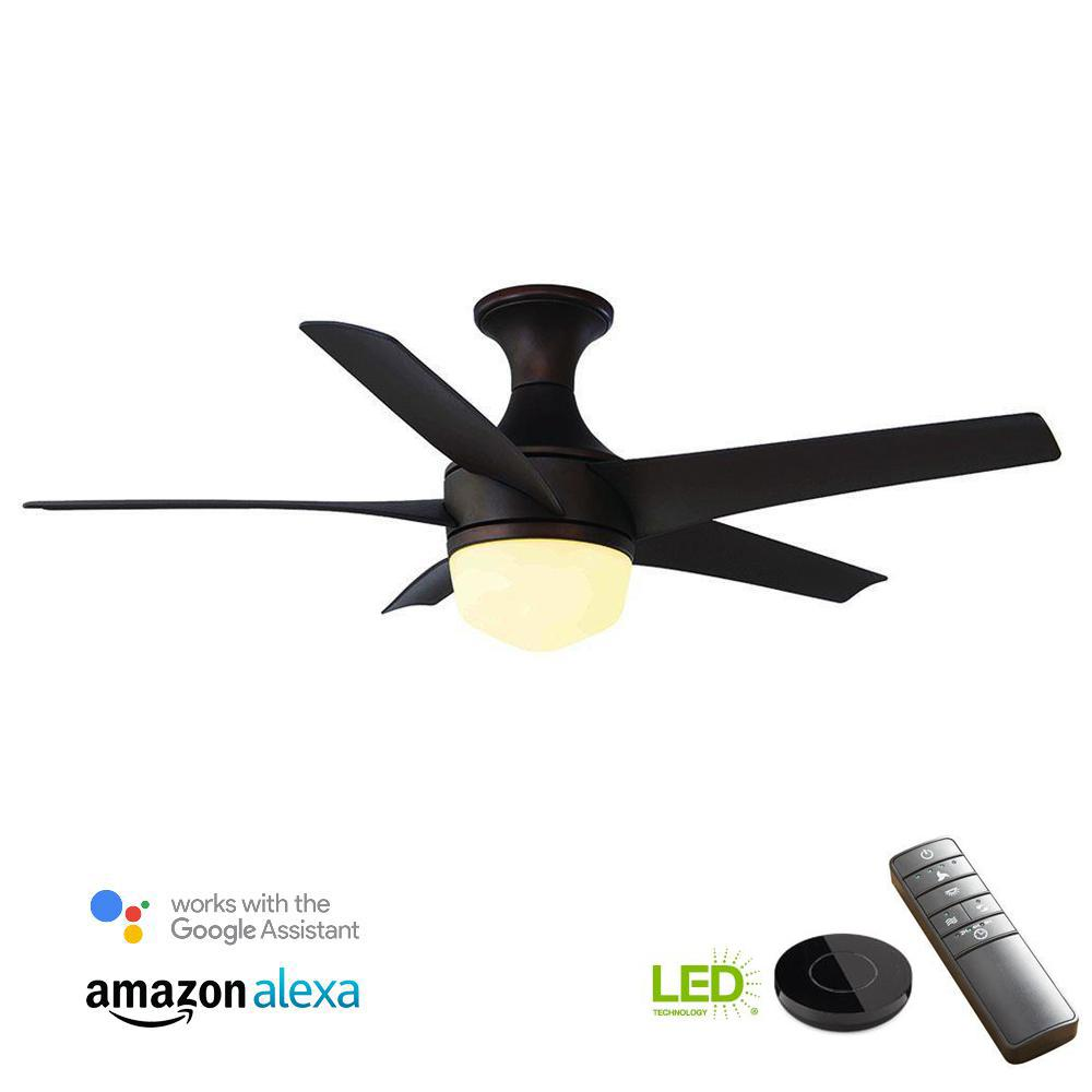 Tuxford 44 in. LED Mediterranean Bronze Ceiling Fan with Light Kit