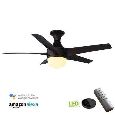 Tuxford 44 in. LED Mediterranean Bronze Ceiling Fan with Light Kit works with Google Assistant and Alexa