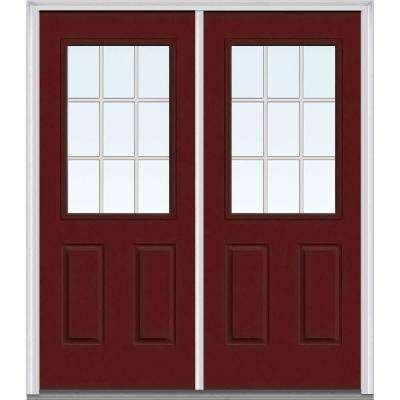 64 in. x 80 in. Tan Internal Grilles Right-Hand Inswing 1/2-Lite Clear Painted Fiberglass Smooth Prehung Front Door