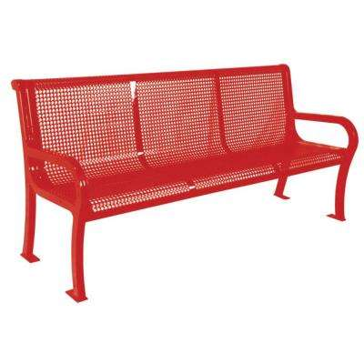 6 ft. Perforated Red Commercial Park Lexington Portable Bench with Back Surface Mount