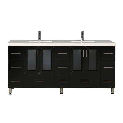 Westfiled 72 in. W x 22 in. D Double Vanity in Espresso with Quartz Vanity Top in White with White Basin