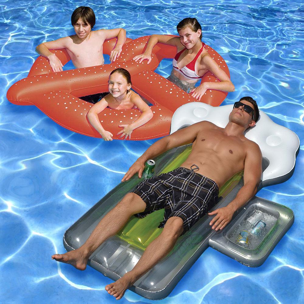 Swimline pretzel and beer mug swimming pool float combo 2 for Pack swimming