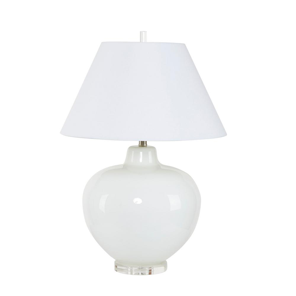 Silverwood Dani 29.5 in. Cream White Glass Table Lamp