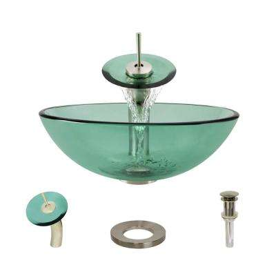 Glass Vessel Sink in Ivy with Waterfall Faucet and Pop-Up Drain in Brushed Nickel